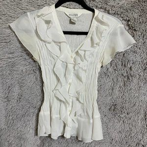 S White ruffle blouse